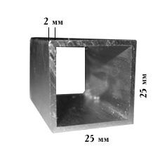Алюминиевая квадрат труба 25х25х2 мм