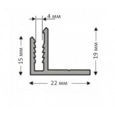 F-образный алюминиевый приоконный НЕанодированный, для 4 мм